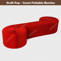 Wholesale H42 x L600cm Innovation Furniture Pop Smart Bench Indoor Universal Waterproof Accordion Style Foldable Kraft Chair For Seats Red