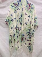 Wholesale Summer Pareo Tropical Kimono Bathing Suit Cover Ups Chiffon poncho butterfly floral print shaawl Bikini Tunic Beach Cover Up Swim Wear
