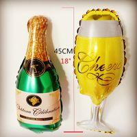 aluminum baby bottles - SET new mini glass baby bottle aluminum FOIL balloons birthday party decoration ballon wedding globos MN038 MN039