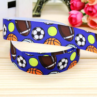 baby rugby ball - 7 quot mm Multiple Many Ball Football Basketball Rugby Tennis Patterns Printed Grosgrain Ribbon Baby Crafts Yds A2