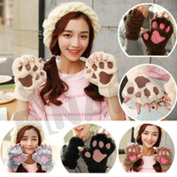 Wholesale Fedex Free DHL Winter Fluffy Cat Paw Plush Fingerless Gloves Novelty Halloween Soft Toweling Half Covered Women s Gloves Mittens Z80