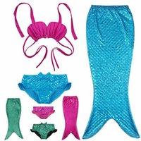 Wholesale 2016 Children Girls Mermaid Tail Costume Cosplay Red Color Baby Kid Mermaid Tails Bikini Swimming Mermaid Swimsuit Set Age Y