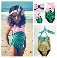 Wholesale Kids Girls mermaid tail Swimwear Hairband suit DHL Mermaid Swimsuit Costume Girls Mermaid Swimsuit Bathing Swimwear Bowknot Bikini Suit