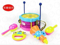 Wholesale 2014 Musical Playing Type Sets Multicolor Plastic Educational Toys Drum Handbell Trumpet Sand Hammer Drum Sticks Hot Sale