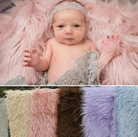 baby prop basket - 150cm m Newborn Photography Props Blankets Soft Plush Baby Blanket Basket Stuffer Faux Fur Fotografia Background