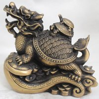 baby dragon drawing - 8 quot Chinese Home Fengshui Bronze Wealth Dragon Tortoise Turtle Baby Statue