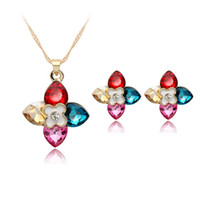 american indian stones - Colorful necklace earring jewelry set four colour crystal pendant flower stud ear gold gem stone necklace party jewelry sets AC413