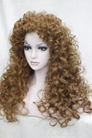 Wholesale Mix Brown Auburn Blonde Heat Friendly Lace Front Synthetic Hair Curly Wig