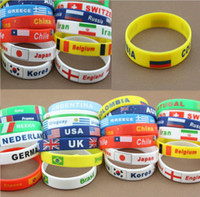 Wholesale Different country national flag band logo silicone bracelets Fashion colorful USA UK wristband bracelet charm waistband for National day