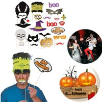 Wholesale 24pcs set Halloween Photo Booth Props Hat Mustache On A Stick Halloween Party Decoration Supplies Halloween Party favor