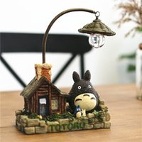 Wholesale Cute cartoon hayao miyazaki having a cat sitting room desktop furnishing articles creative household adornment small night lights