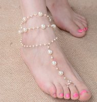 Wholesale 2016 PC Bridal Barefoot Sandal Pearl Gold Multilayer Toe Ring Anklet Bracelet Foot Joker Pearl Anklets Handmade Beaded Even Refers To Ankle