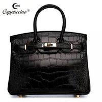 Wholesale 2016 White Pewter Leather Tote Handbag Crocodile Pattern New Designer Totes One Shoulder Casual Big Bags Forbag High Quality Elegant Lady