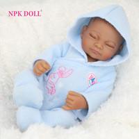 Wholesale African American Baby Doll Black Boy Realistic Life Like Reborn Newborn Babies Bonecas Closed Eyes