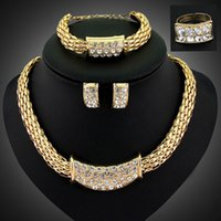 Wholesale Gold Plated Rhinestone Costume Statement Necklace Cheap Piece Jewelry Sets Women Wedding Accessories Necklace African Bead