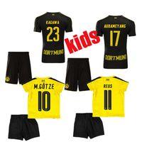 Wholesale Top thai Kids Borussia Dortmund soccer jerseys Youth Dortmund Kit Home Away M GOTZE REUS PULISIC KAGAWA MOR Boys football kits
