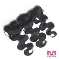 Encierro frontal del cordón brasileño del pelo del grado 7A ceja natural natural del pelo humano de la onda del cuerpo de la onda negra del cuerpo 13 * 4 Dyeable Bleachable