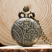 bee nice - vine bronze nice pattern lovely bee long chain necklace pendant pocket watch P555