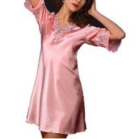 Wholesale Robes Womens Short Kimono Bathrobes Satin Sleepwear Lingerie Sleepshirt Womens Nightshirts Viscose V Neck Short Sleeve Sleepwear Kimono Rob