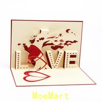 Wholesale 10PCS D hollow love Valentine s Day greeting card ommemorate birthday postcards Love Tree Blessing small note gift card