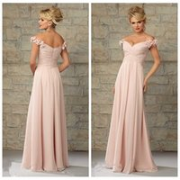 adorn woman - Off Shoulder Chiffon Pink Bridesmaid Dresses Handmade Flowers Adorned Formal Women Maxi Honor Of Bridal Long Formal Wear Custom