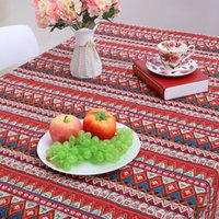 Wholesale Mediterranean Style Table Cloth Square Linens Tablecloths Cotton Printed Dining Table Cloth For Wedding Home Hotel Picnic Outdoor
