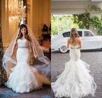 al por mayor faldas estilo de la vendimia-Vestidos 2016 Arabesco sirena del amor de los vestidos de boda de encaje sin espalda de la blusa de la vendimia Vestios de novia de novia con niveles volantes Faldas
