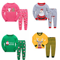 Wholesale DHL Christmas Pajamas outfits cartoon baby long sleeved pants set Santa and Christmas deer print suit kids Clothing styles C1445