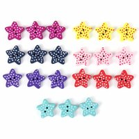 Cheap 100 pcs Fashion Five Pointed Star Shaped Wooden Buttons Mixed Colours DIY Cloth Craft Sewing Scrapbook 2 Holes Randomly Color