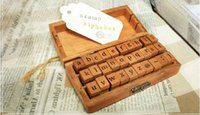 Wholesale 2016hot korean stationery high brand New Retro English letter stamps lowercase size X1 cm wooden quality boxes a