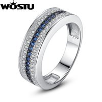 Wholesale WOSTU Luxury Platinum Plated Women Wedding Ring in Micro Setting With Zircon Wedding Band for Love Gift XCHR019