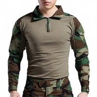 Cheap Wholesale-Free Shipping Military Tactical Gen2 Army BDU Airsoft Paintball Combat Shirt With Elbow Pads Woodland
