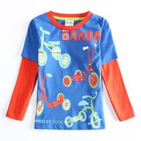 baker clothing - LongT shirts boyes T shirts Kids clothing clothes for kids boy Cotton Blue Round neck Classic Fashion Carton Baker Letter