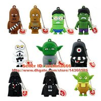 Wholesale Pen Drive Cartoon Star Wars Darth Vader R2D2 Flash Drives GB GB GB GB Storm Trooper Yoda Boba Fet USB Memory Stick Gift