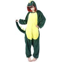 Wholesale Dinosaur Unisex Flannel Hooded Pajamas Adults Cosplay Cartoon Cute Animal Onesies Sleepwear Hoodies For Women