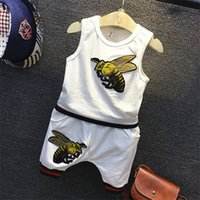 bee embroidery design - Fashion Casual Boys Vest Suit Children Bee Embroidery Cotton T shirt Harem Pants Elastic band Design Kids White Sports Clothing Set K255