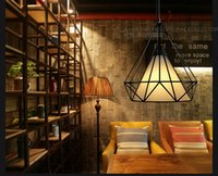 bar lighting ideas - High quality European retro industrial wind wrought iron birdcage diamond pendant modern American style loft idea bar restaurant study lamp
