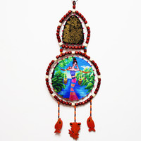 Wholesale China Yunnan ethnic handicrafts home decorative wall bar leather hand beaded wooden beads painted ornaments Dongba shipping