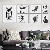 Cheap Banksy Black White Modern Abstrcat Pop Hipster Art Print Poster Wall Picture Living Room Canvas Painting No Frame Home Decor