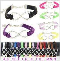 Wholesale MIC Popular fashion silver infinity symbol leather cord bracelet Handmade leather rope friendship bracelet H