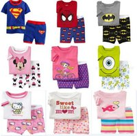 Wholesale Kids clothing boys girls Pyjamas Cotton Cartoon Baby Pajamas Short Sleeve Sleepwear Sets One T shirt And Pair Of Pants