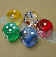Wholesale 25MM Transparent Poker Chips dice Six Sided Spot Fun Board game Dice D D RPG Games Party bar Dice Gambling Game Dices