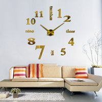 Wholesale 2016 new arrival Quartz clocks fashion watches d real big wall clock rushed mirror sticker diy living room decor