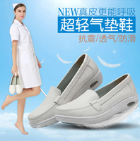 anti slip shoe appliques - Womens White Nurse Shoes Casual Fashion Classic Leather Flat Anti thick air cushion ultralight shoes white shose For Work Size