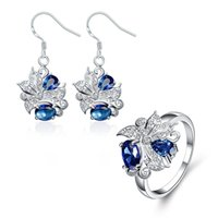 Wholesale Best gift fashion Diamond flower silver earring ring jewelry sets brand new hot sale sterling silver blue gemstone set wedding GTFS056A