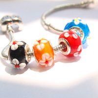 Wholesale Silver Cord Glass Loose Beads Fit Murano Bracelet Jewelry Big Hole Charms Bracelet Findings Jewelry Accessories
