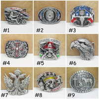 Wholesale Free DHL Metal Belt Buckle With American Flag Eagle Styles Skull Eagle Cross Confederate Southern South Belt Buckle Gift E872L