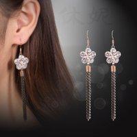 beautiful dangle earrings - 2016 New Luxury White Flower Wedding Tassels Charm Earrings CZ Rhinestone Engagement Beautiful Earrings Jewelry Crystal Ear Rings