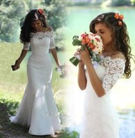Wholesale Mermaid Wedding Dresses Boat Neck Half Sleeve Lace Up Court Train Lace and Applique White or Ivory Wedding Gowns Dresses
