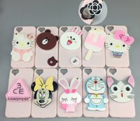 apple minnie - mirror cartoon phone cases for iphone s plus S silicone case Mickey Minnie hello kity protector cover case fashion girls GSZ175